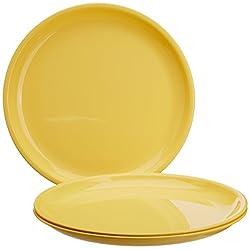Signoraware Round Full Plate Set, Set of 3, Lemon Yellow