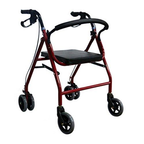 XINZ Andador para Ancianos de 4 Ruedas   Aluminio Ultraligero   Plegable   con Frenos De Mano Y Puños Ergonómicos   Incluye Cesta   Peso Máximo Soportado 150 Kg   70x56CM
