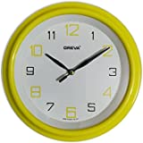 Ajanta (Oreva) Quartz Small Size (20.5 Cm X 20.5 Cm) Plastic Round Shape Wall Clock For Home And Office (Yellow)