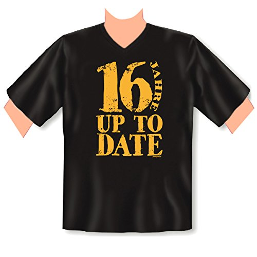 Cooles V-Neck T-Shirt zum 16.Geburtstag als Geschenk - Farbe: Schwarz - 16 Jahre up to Date Schwarz