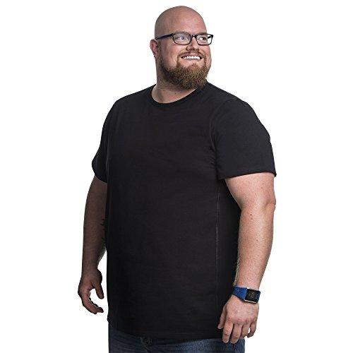 5XL T-Shirt für Männer mit Übergröße Bauchumfang Herren Rundhals Basic Tshirt Übergrößen. 5XL-B (für Bauchumfang 146-153 cm) Schwarz