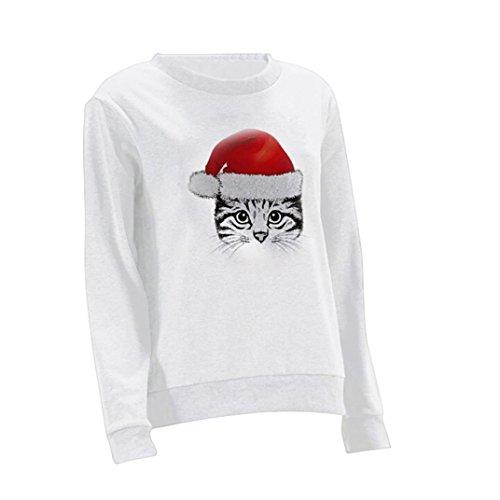 Pullover Langarmbluse Weihnachtskatze Drucken O Neck Übergang Tops Weihnachtspullover Sweatjacke lustige gedruckt XMAS grafische Pullover Sweater Santa Sweatshirts (M, White) (Lustige Santa-kostüme)