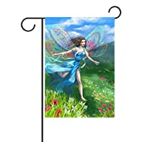 YATELI Duble Sided Happy Beautiful Fairy Wings Dragonflies in Blue Long Dress Runs on Nature Meadow Flower Polyester House Garden Flag Banner 28x40 Inch for Anniversary Family Garden Decor