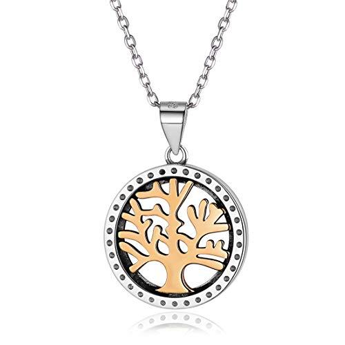 Nofade Silver Damen Halskette Baum des Lebens 925 Sterling Silber Anhänger Kette Herren, feiner Lebensbaum Schmuck Mutter Geburtstag Freundschaft Geschenke