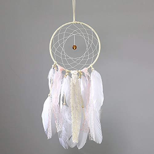 Tree of Life Traumfänger Glow in the Dark handgefertigt mit Perlen Feder Quaste Wand hängende Dekoration Room Decor Party Hochzeit Ornament - Weiß Stil Nr. 4