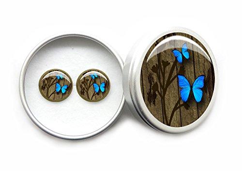Hecho a mano Joyería Vendimia Vintage pendientes mariposa azul Aretes