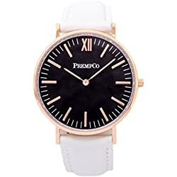 Prempco - Nobel - Ladies Watch - Black/Rose Gold - Quick Change Watch Wrist Band, White