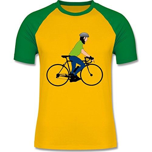 Radsport - Rennrad Fahrrad - zweifarbiges Baseballshirt für Männer Gelb/Grün