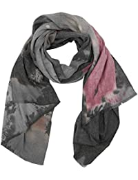 Tuch gestreift Damen Schal mit Streifen Struktur Muster Print und Fransen