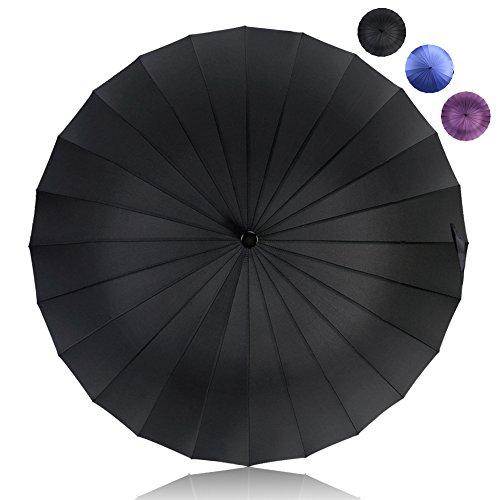HISEASUN 52inch Paraguas de Golf a Prueba de Viento con 24 Costillas para Mujeres y Hombres Paraguas Grande Clásico Antiviento, Mango de Cuero Recto, Fácil de Llevar(Negro)