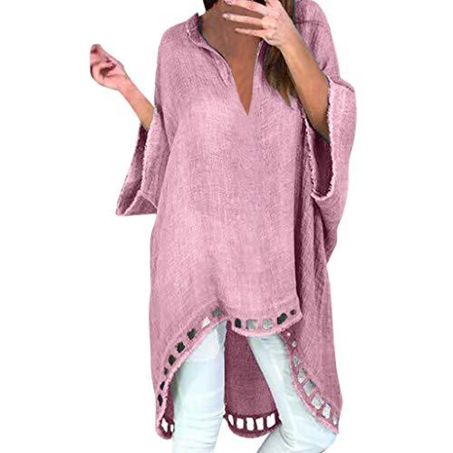 SSUPLYMY Damen Lose Asymmetrisch Jumper Pullover Bluse Oberteile Oversize Tops Langarm Lose Bluse Hemd Shirt Mode Damen Casual Style V-Ausschnitt Leinen Einfarbig Loose Blusen - Bio-baumwolle Cami