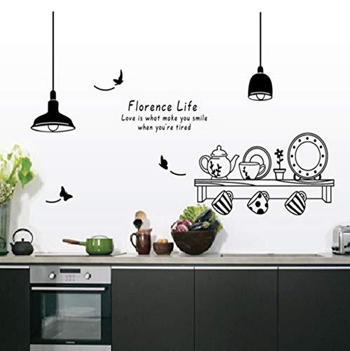 Wandaufkleber florenz Leben Removable Kitchen Restaurant Tee Cup Cabinet Decor Aufkleber Wandbild 60 Cm * 90 Cm Florenz-tee