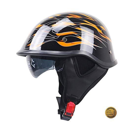 GuoYq Offener Motorradhelm, Helm für Motorrad-Jet-Piloten, Retro-Halbhelm für Cruiser-Motorradfahrräder, integrierte Schrumpflinse, DOT-Zertifizierung