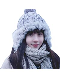 Cap Sombrero de Invierno señoras Sombrero de Lana de Punto cálido Orejeras  Mujer Invierno otoño y a1b5778eb2c
