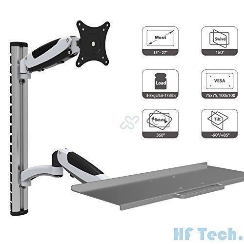 HFTEK® FY02WS Workfit Workstation Sit & Stand Supporto per Monitor supporto da parete inclinazione e rotazione fino a 27 pollici con VESA 75/100