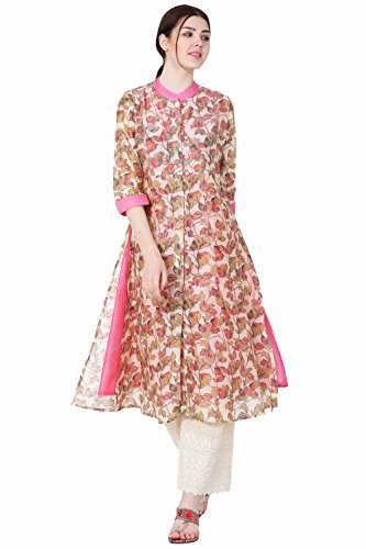 IndiWeaves Mundal Chanderi Casual/Party wear Printed Kurti/Kurta for Women_Color-Pink_Size-Large_CH 35-IS-L