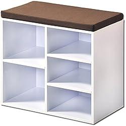 Kesper zapatero con cojín del asiento, 51,5x 29,5x 48cm), color blanco