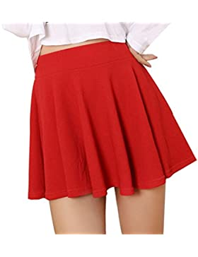 Lady High Waist Plain Skater Flared plisado corto Mini falda Shorts faldas