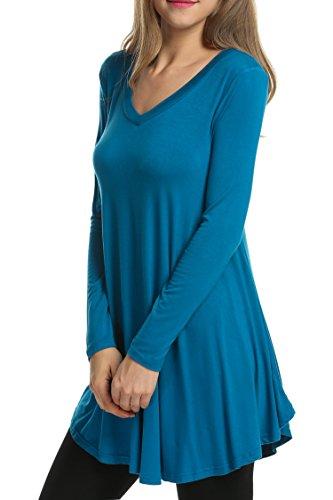 Hotouch da donna con scollo a V, maglia a maniche lunghe tunica tops Navy blue