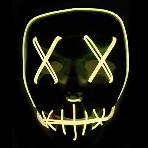 (Row_120cc Orange Schwarzes Gesicht Halloween EL-Lichtmaske Maskerade Lichtrequisiten LED-Lichtmaske EL-Kaltlichtbrille)