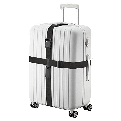 Correas Cruzadas de Equipaje - Luxebell Negro Ajustable Doble Tarea Pesada Correa de embalaje de la maleta (3.15 - 5.9 Ft)