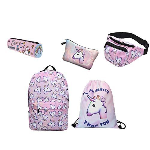 e6ac3741bf zaino unicorno Leah's fashion, Zainetto per bambini/astuccio  unicorno/Marsupio/trousse make up/Borsa con coulisse