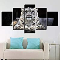 KQURNXSL HD wall art home decoration modular images print 5 panels Animal painting tiger on canvas for modern living room frame