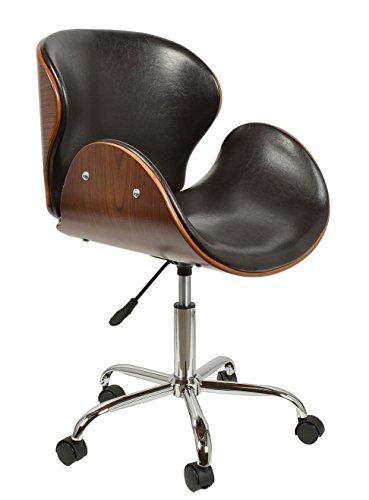 ts-ideen 2725 Sedia Poltroncina Girevole da Ufficio Lounge Style in legno di Noce