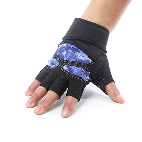 VIWIV Silikon Anti-Skid Atmungsaktive Farbe Halbfinger Handschuhe Fitness-gewichthebeld-Handschuhe Sports Riding Handschuhe,Black,L -