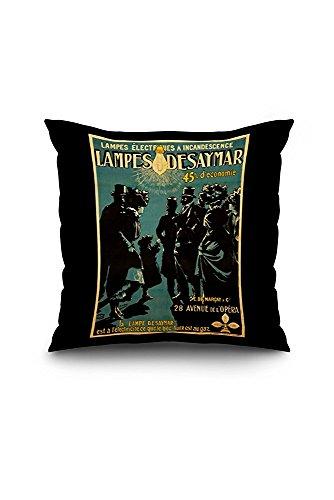 Lampes Desaymar Vintage Poster (artist: H. Gray Henri Boulanger) France c. 1899 (20x20 Spun Polyester Pillow Case, White Border)