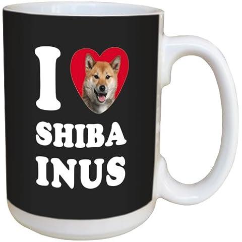 Árbol de-free LM45119 15 oz de felicitación de conejos y corazones de Shiba completo en nosotros taza de cerámica con mango