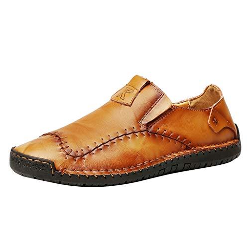 Lederne MüßIggäNger-Schuhe Der MäNner SchnüRen Turnschuh-Schuhe Herren Business Halbschuhe Mokassins Freizeit Schuhe Lederschuhe Sneaker EU38-48(Braun,39 EU) ()