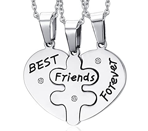 Vnox 3Pcs Stainless Steel Friendship Necklace Heart Puzzled Forever Best Friends Pendant with Chain for