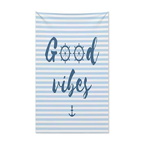 ABAKUHAUS Good Vibes Wandteppich und Tagesdecke, Nautische Maritime aus Weiches Mikrofaser Stoff Kein Verblassen Klare Farben Waschbar, 140 x 230 cm, Nachtblau Babyblau