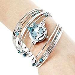 Women's Silver Steel with Beads Quartz Analog Bracelet Watch Blue