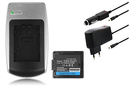 Ladegerät + Akku CGA-DU21 für Panasonic NV-GS10, GS17, GS21, GS22, GS24, GS26