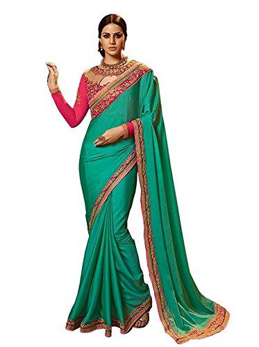 Magneitta Women's Rangoli Silk Heavy Work Saree With Blouse Piece (Green)