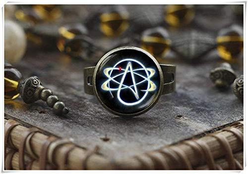 Atheist Symbol Ring Atom Ring Atheist Schmuck No Religion Ring Herren Ring Geschenk für Atheist, Schwarz Atheist Ring Ein schönes Geschenk