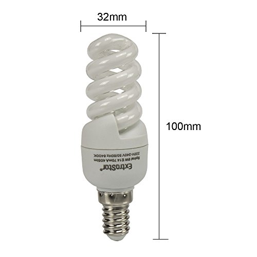 5X Energiesparlampen E14 ExtraStar 9W (=41W) Leuchtmittel Spirale Sparlampe 6400K Kaltweiss FE785 (9 Watt)