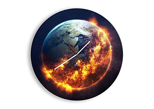 Wanduhr - Rund - Glasuhr - Breite: 50cm, Höhe: 50cm - Bildnummer 2875 - Schleichendes Uhrwerk - lautlos - zum Aufhängen bereit - Kunstdruck - C1AR50x50-2875