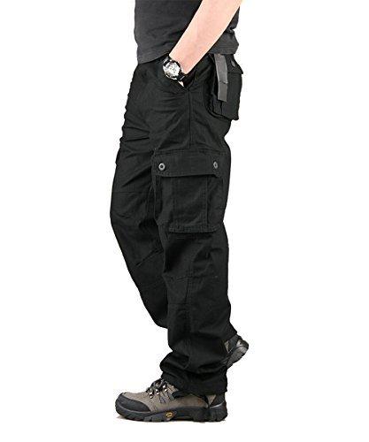 TAIPOVE Uomo Pantaloni Cargo Pantaloni Tattici Militari Uomo, Pantaloni da Lavoro Uomo per Uso Stagioni Casual, Sport, Viaggio di Cotone Nero 30