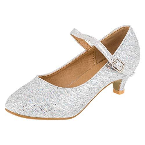 Festliche Mädchen Pumps Schuhe Ballerinas mit Absatz Riemchen in Glitzeroptik M562si Silber 31 EU