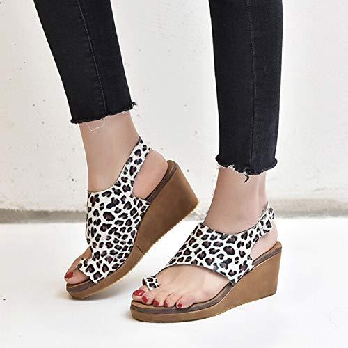 Große Atmungsaktive Slips (LXYYBFBD Sandalen Für Damen,Europa Und Die Vereinigten Staaten Hang Mit Frauen Sandalen Wasserdicht Plattform Licht Unten Groß Toe Sandalen Atmungsaktiv-Slip Damen Sandalen Mit Leopardenmuster, 39)