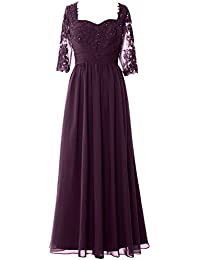 MACloth Gorgeous One Shoulder Long Prom Dress Mermaid Lace Formal Evening Gown (EU42, Gris)