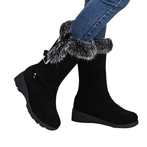 OSYARD Damen Snow Booties Flache Mittlere Stiefel Wildleder s, Frauen Buckle Velvet Schuhe Keil Plüsch Shoes Winter Warm Baumwolle Boots Stiefeletten Schnee Stiefel(230/37, Schwarz)