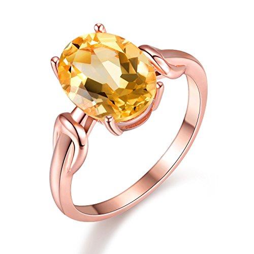 Uloveido 925 Sterling Silber Oval Cut echte Citrin Gelb Crystal verstellbare Halo Ring November Birthstone Rose Gold überzogene zierliche Anniversary Resize Geburtstag Ringe für Frauen FJ076 (1.5CT) (Gold Gelb Ring)