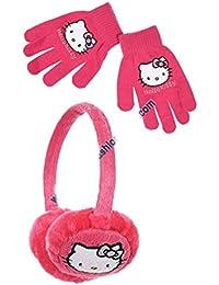 Orejera y guantes para niña de Hello Kitty en color violeta y rosa. Talla única.