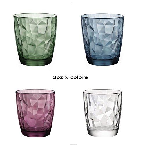 Set 12 bicchieri bicchiere trasparenti viola blu verde acqua bibita cocktail 30cl diamantati linea bormioli diamond