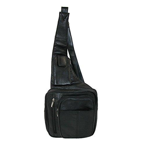 Roma Leathers - Bolso cruzados de cuero para mujer negro negro talla única 30b17606712