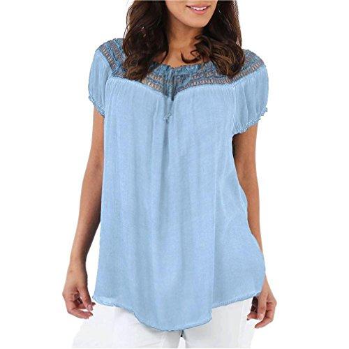 Manadlian - T-shirts Femmes Boho Lâche Dentelle en Mousseline de Soie à Manches Courtes Blouse Summer Tops Bleu